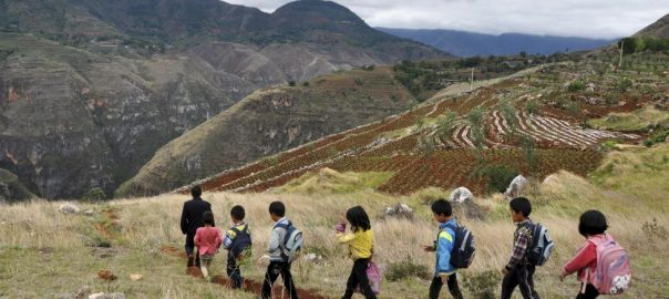 Xie Bihua (L), a 47-year-old teacher of a rural primary school located at the mountainous area, leads on a small dirt road as he walks with his students after school, in Weining Yi, Hui, and Miao Autonomous County, Guizhou province, China, May 28, 2015.  REUTERS/Stringer